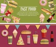 Bannière populaire de chaîne alimentaire, conception plate Affiche de festival illustration stock