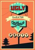 Bannière pour la fête de Noël laide de chandail, illustration tirée par la main de vecteur perfomed dans le rétro style illustration stock