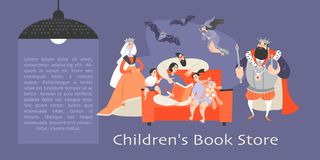 Bannière pour la librairie des enfants avec la famille s'asseyant sur le divan et lisant un livre et des caractères fantastiques illustration stock