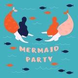 Bannière pour la marine, thème de mer Partie de sirène illustration de vecteur