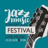 Bannière pour la musique de jazz de festival avec un cou de guitare Images libres de droits