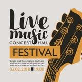 Bannière pour la musique en direct de festival avec un cou de guitare Photo stock