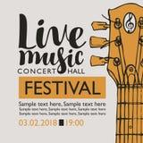 Bannière pour la musique en direct de festival avec un cou de guitare Photos libres de droits