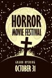 Bannière pour le festival de film d'horreur, cinéma effrayant illustration stock