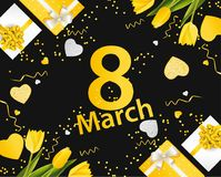 Bannière pour le jour international du ` s de femmes 8 mars avec le décor Images stock