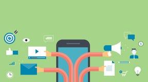 Bannière pour le marketing numérique d'affaires sur le marketing de mobile et de contenu Image libre de droits