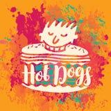 Bannière pour les hot-dogs sur le fond abstrait Images libres de droits