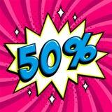 Bannière pourpre de Web de vente Bannière comique de promotion de remise de vente d'art de bruit Grand fond de vente Pour cent 50 Photo stock