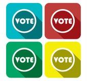 Bannière réglée d'icône plate de vote - Photographie stock libre de droits