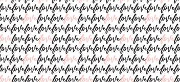 Bannière romantique de papier peint de calligraphie Fond tiré par la main mignon des textes avec le mot d'amour Image libre de droits