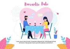 Banni?re romantique des textes de date avec les couples plats de bande dessin?e illustration libre de droits