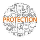 Bannière ronde avec l'équipement de protection personnel Protection la santé et le corps Photo stock