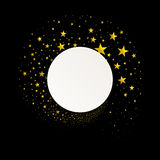 Bannière ronde avec un courant des étoiles d'or illustration stock