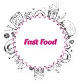 Bannière ronde tirée par la main de menu d'aliments de préparation rapide La conception de calibre pour le restaurant, café avec  Photos stock