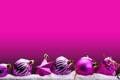 Bannière rose de Noël image stock