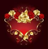 Bannière rouge avec des roses Photo stock