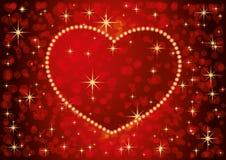 Bannière rouge avec le coeur rouge illustration stock