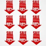 Bannière rouge de flèche de vente Photographie stock libre de droits