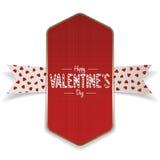 Bannière rouge de jour de valentines de textile et ruban blanc Photos stock