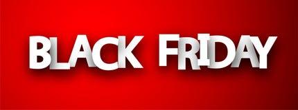 Bannière rouge de promotion de vente noire de vendredi illustration libre de droits