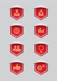 Bannière rouge de récompense de ruban avec le vecteur conceptuel de symboles Photo stock