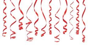 Bannière rouge de rubans de partie Photos libres de droits