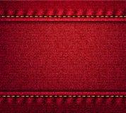 Bannière rouge de texture de denim Images stock