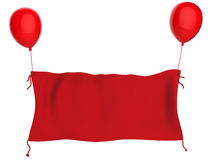 Bannière rouge de tissu accrochant avec les ballons rouges d'isolement sur le blanc Photographie stock
