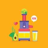 Bannière saine colorée de presse-fruits et de nourriture de légumes de verts de fruits frais Images libres de droits