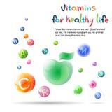 Bannière saine de la vie de vitamines avec l'espace de copie Photographie stock libre de droits
