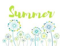 Bannière saisonnière avec les fleurs de soufflement de pré de boule Photographie stock