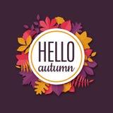 Bannière saisonnière d'origami coloré avec l'automne des textes bonjour illustration stock
