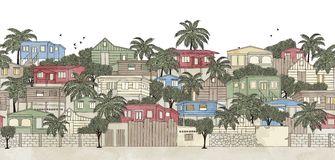 Bannière sans couture d'un village des Caraïbes illustration de vecteur