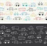Bannière sans couture de griffonnages de voitures Images stock