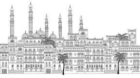 Bannière sans couture de l'horizon de Sanaa Photographie stock libre de droits