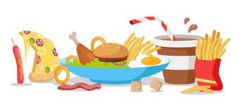 Bannière savoureuse d'aliments de préparation rapide Image libre de droits
