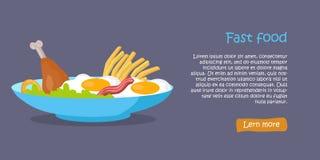 Bannière savoureuse d'aliments de préparation rapide Photographie stock