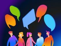 Bannière sociale de concept de dialogue de réseaux illustration stock