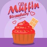 Bannière sociale de médias de petit gâteau délicieux de fraise illustration de vecteur