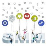 Bannière sociale de Web de media Media social lançant le concept sur le marché 3d isométrique Personnes isométriques illustration stock