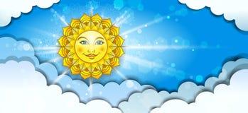 Bannière Sun divisant en nuages Photos libres de droits