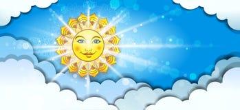 Bannière Sun divisant en nuages Photographie stock libre de droits