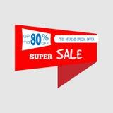 Bannière superbe d'offre spéciale de vente, jusqu'à 80%  Illustration de vecteur Signe total coloré de vente Étiquette rouge Icôn Photos stock