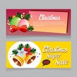 Bannière superbe de vente de Noël avec le vecteur de décoration de cloche illustration stock