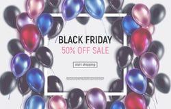 Bannière teintée de vente de Black Friday avec les ballons réalistes illustration stock