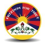 Bannière tibétaine de drapeau avec la liberté d'ombre et de textes pour le Thibet Images libres de droits