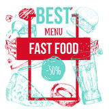 Bannière tirée par la main colorée moderne de menu d'aliments de préparation rapide Conception de calibre pour le restaurant, caf Images stock