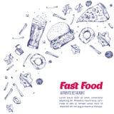 Bannière tirée par la main colorée moderne de menu d'aliments de préparation rapide Conception de calibre pour le restaurant, caf Photos stock