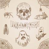 Bannière tirée par la main de griffonnage de gravure de vintage de partie de Halloween illustration stock