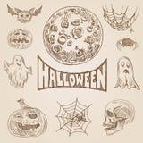 Bannière tirée par la main de rétro contre-taille de gravure de vecteur de Halloween illustration de vecteur